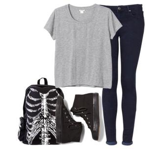 bag black t-shirt crop tops jeans grunge grunge shoes converse