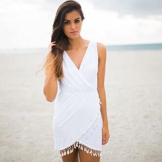 dress e's closet white dress pom pom trim pom pom