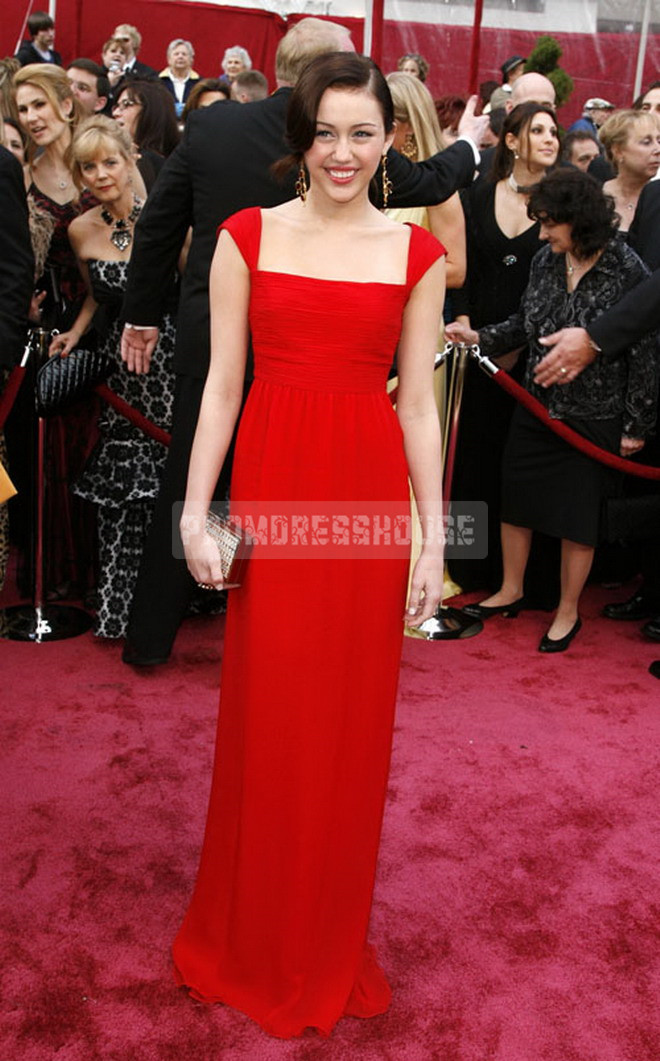 Red Attractive Square Neck Floor Length Cap Sleeve Sheath Celebrity Dress - Promdresshouse.com