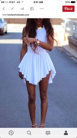 dress white white dress fashion asymmetrical summer