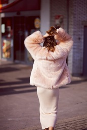 vasilieva,blogger,all pink everything,pink coat,faux fur coat,bodycon dress,pastel dress,pink dress,pink winter outfit,monochrome outfit