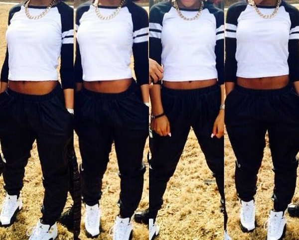 shirt jayda jayda ayanna jayda cheaves amourr jayda black white joggers jordans chain stripes crop pants t-shirt