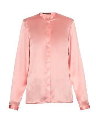 blouse silk satin pink top