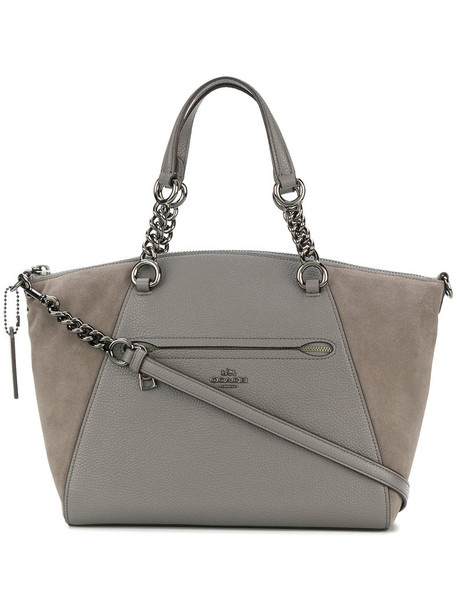 coach satchel women bag satchel bag leather grey