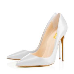 Grey White Office Heels Pointy Toe Stiletto Heels Pumps