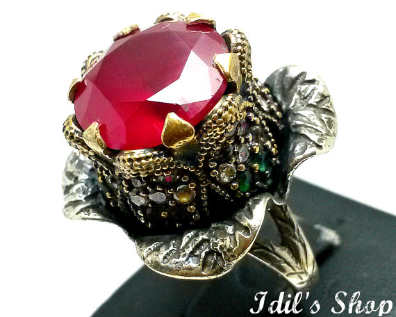Ring, bague, anillo, turkish ottoman style jewelry, 925 sterling silver, authentic gift, traditional handmade, flower design with ruby stone