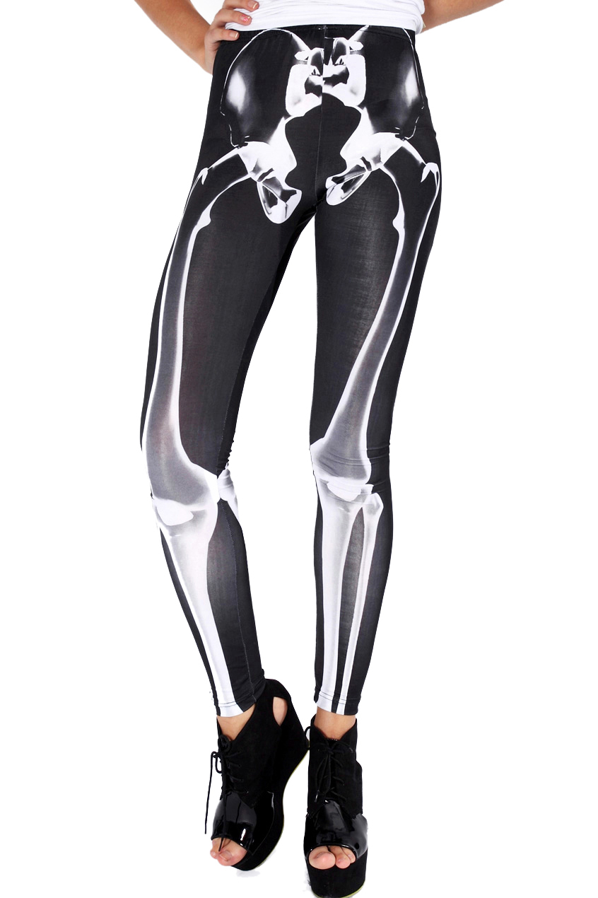 ROMWE | ROMWE Skeleton Print Black Leggings, The Latest Street Fashion