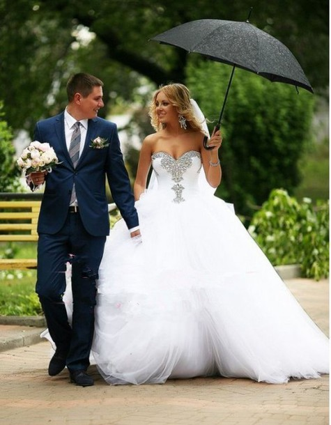 Dress Lovely Cute White Bling Diamonds Cristal Perfect Ball Gown Royal Wedding Uk Dresses