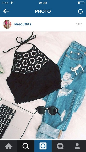 top black high neck lace crop tops floral tumblr