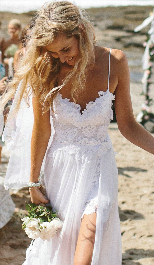 Aliexpress.com : Buy Sexy Spaghetti Straps Beach Wedding Dress 2014 Long White Ivory Chiffon Short Front Long Back Lace Bridal Dresses from Reliable dress up casual dress suppliers on 27 Dress