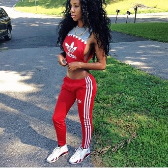 t-shirt blouse red pants red bottoms adidas top shirt pants sexy red top tracksuit sweatpants jordans joggers cropped red curly hair black girls killin it shoes shark crop tops jumpsuit sweater adidas pants red red adidas pants red jumpsuits red adidas shirt red adidas pants sportswear