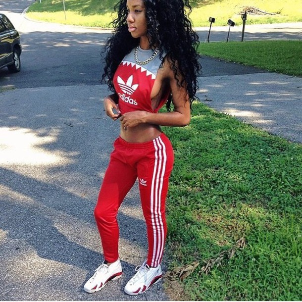 T-shirt: blouse, red pants, red bottoms, adidas, top ...