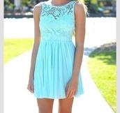 dress,baby blue lace