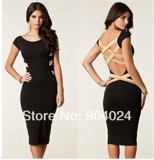 S M L XL XXL Plus Size 2014 Spring New Fashion Women Sexy Knee Length Black Bodycon Bandage Dress Celebrity Casual Dress | Amazing Shoes UK