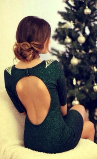 dress green green dress sequin dress black prom dress black sequin dress green sequin dress prom dress any colour #dress #openback #pretty #formal