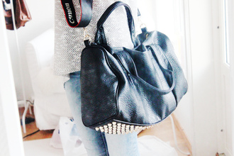 bag rivet black handbag