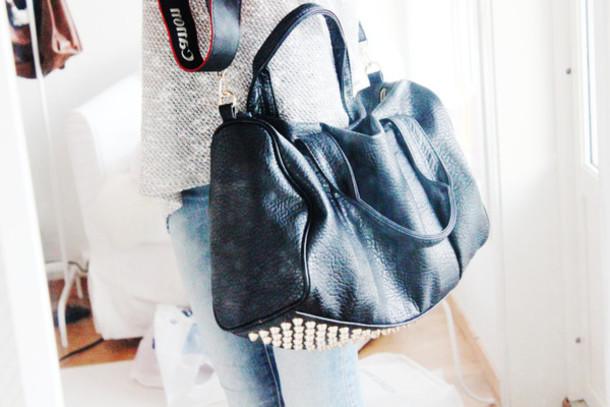 bag bag rivet black handbag