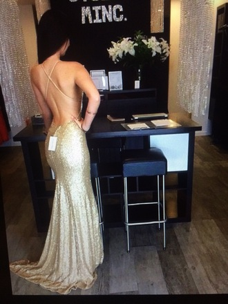 dress gold sequins prom backless train