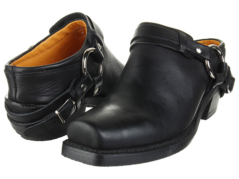 Frye Belted Harness Mule Black Greasy Leather - Zappos.com Free Shipping BOTH Ways