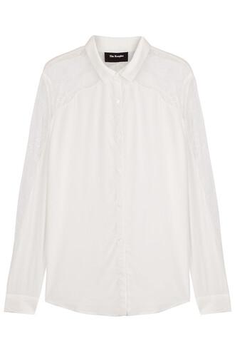blouse lace silk white top