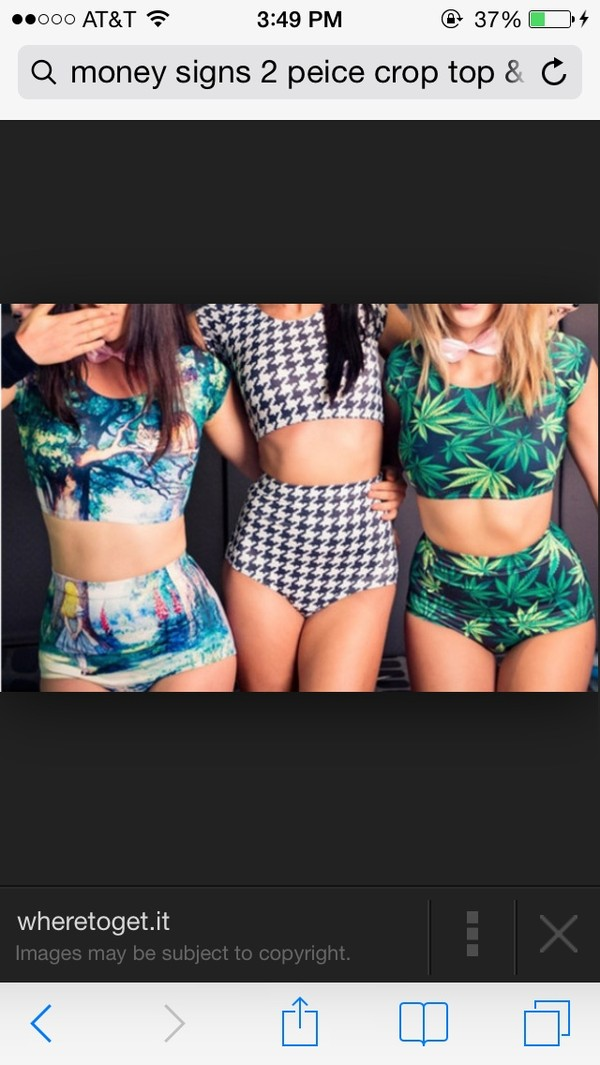 swimwear weed outfit two  piece