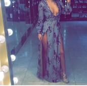 dress,grey,sequins,plunge v neck,evening dress,gown