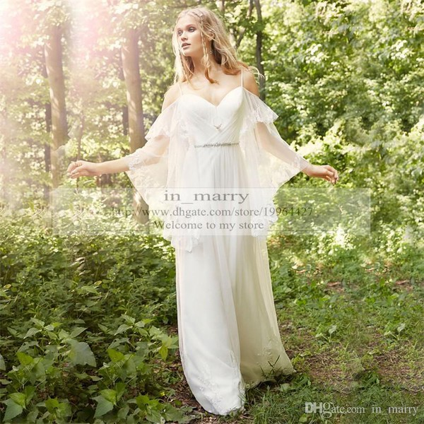 Dress Sexy Wedding Dresses Boho Bohemian Chiffon Lace Greek Style Cheap