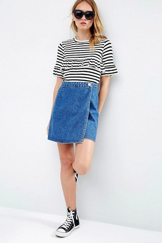 lefashion blogger casual summer outfits ruffled top asymmetrical skirt denim skirt converse high top converse striped t-shirt
