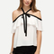 White ruffle halter off the shoulder blouse -shein(sheinside)
