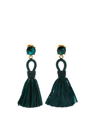 tassel earrings green jewels