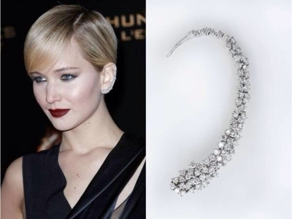 jewels earrings silver earrings diamond earrings stud diamond earrings ear cuff jennifer lawrence jennifer lawrence red carpet diamonds class stud earrings diamond ear cuff ear climber diamond ear wrap ear jackets silver ear cuffs earring wrap non pierced