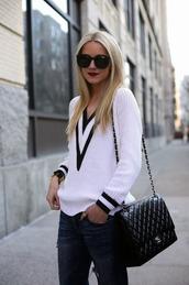 sweater,clothes,white,black,plunge v neck,tumblr,chanel,jewelry,bag,round sunglasses,sweatshirt,jeans,shirt,sunglasses