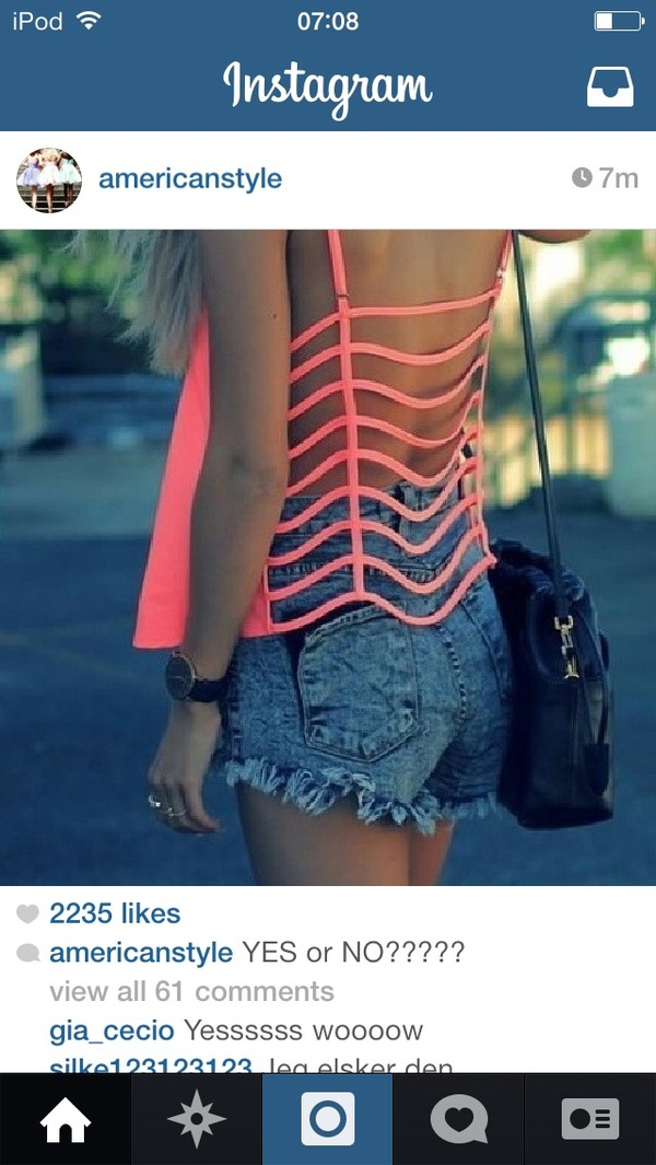 shirt pink open back cute