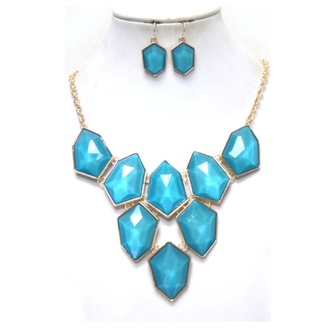 jewels chunky necklace set blue earrings chunky necklace bib necklaces