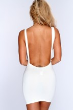 Ivory Backless Sleeveless Bodycon Party Dress