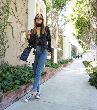 croptopia blogger blouse jeans designer bag converse