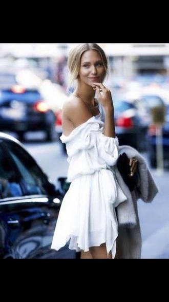 dress silk white dress off the shoulder dress
