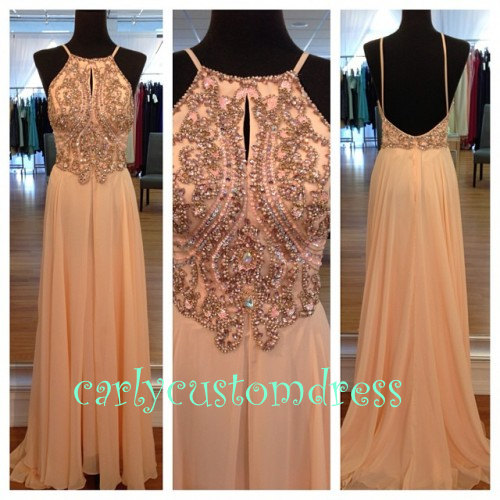 Long blush pink prom dress/beaded bridesmaid by carlycustomdress