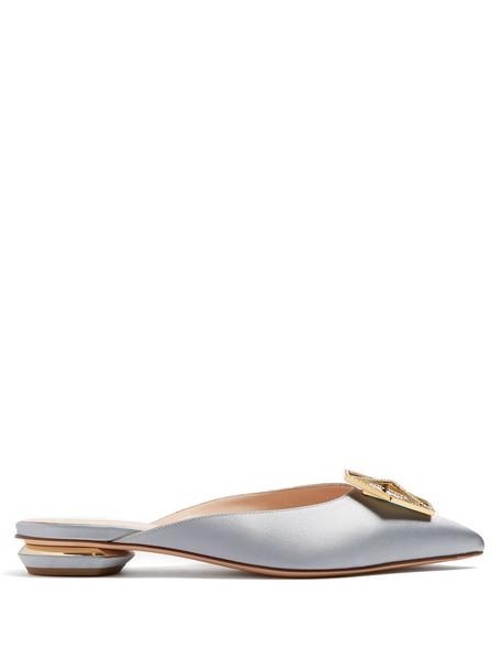 backless embellished loafers satin light blue light blue shoes