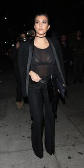 see through,all black everything,pumps,jacket,blazer,bra,lace bra,kourtney kardashian,fall outfits,bodysuit,jewels,jewelry,necklace,choker necklace,black choker,kardashians,keeping up with the kardashians,celebrity style,celebrity,ysl,black pants,jumpsuit