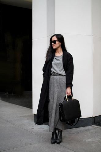 swag simplicity minimalist monochrome maxi skirt grey