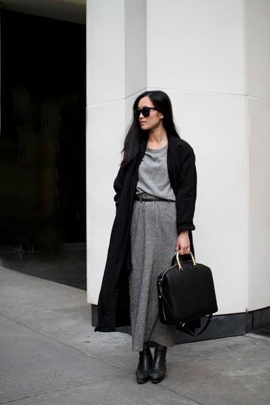 grey swag simplicity minimalist monochrome maxi skirt