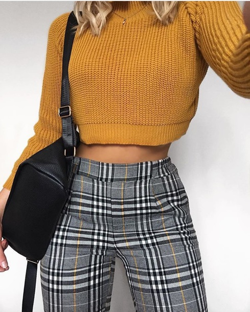 pants grey yellow black checked checkered pants mustard jeans tartan tartan trousers black classy sweater crop tops orange knitted sweater purse white plaid plaid pants yellow black trouser clothes black and grey skinny pants high waisted professional looking cheque yellow black and grey