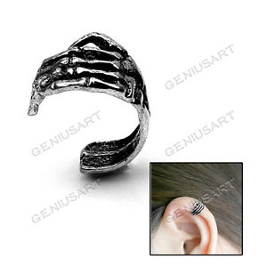 New hot silver color skeleton hand skull cartilage ear cuff wrap clip earring