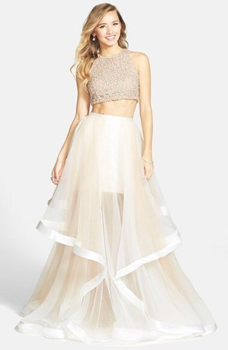 dress prom nordstrom chiffon dress prom dress gown two-piece beautiful dress england pretty dress beige dress nude dress