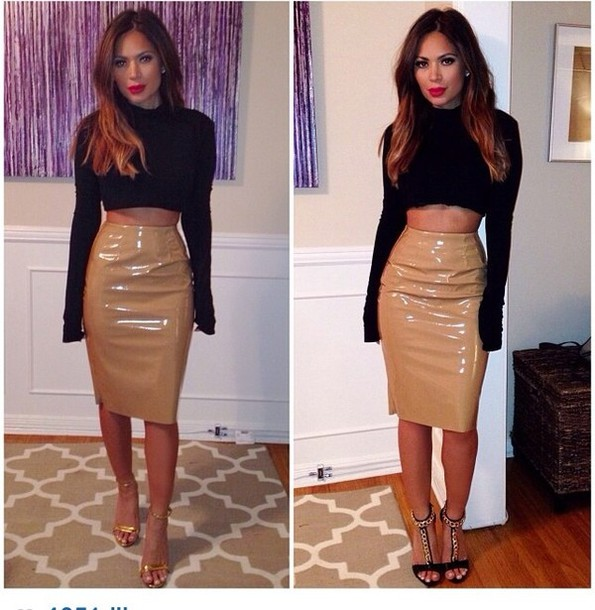Skirt: patent leather skirt, beige, long, marianna hewitt - Wheretoget