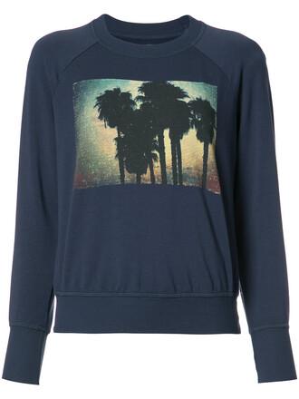 sweatshirt women spandex tree palm tree palm tree print cotton print blue sweater