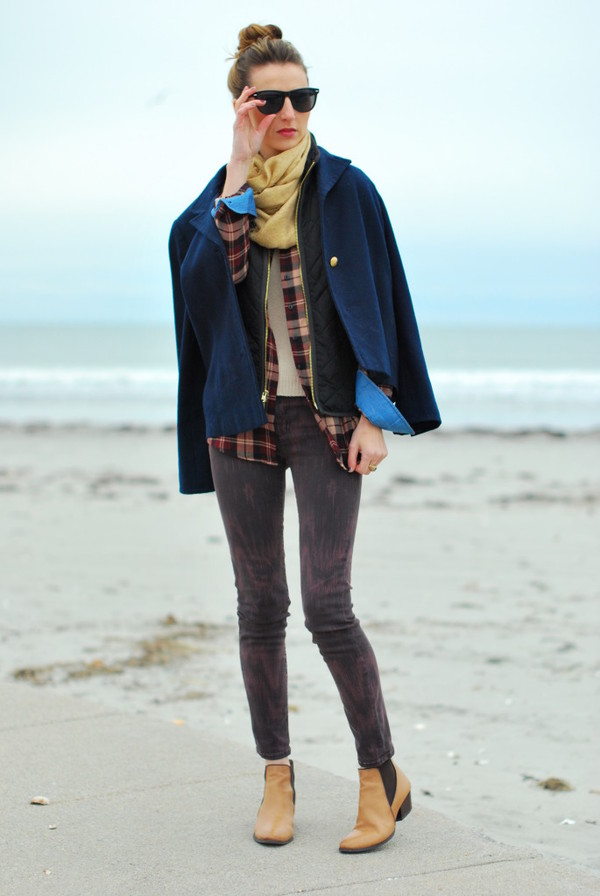 jess style rules scarf jacket jeans shirt shoes sweater