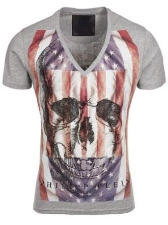 grey t-shirt american flag skull