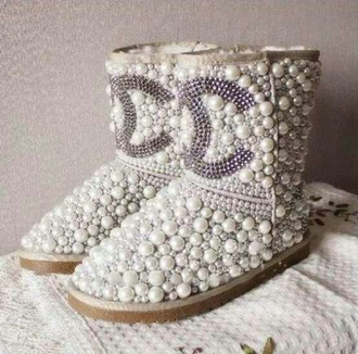 shoes coco chanel uggs ugg boots chanel boots pearl shiny diamonds